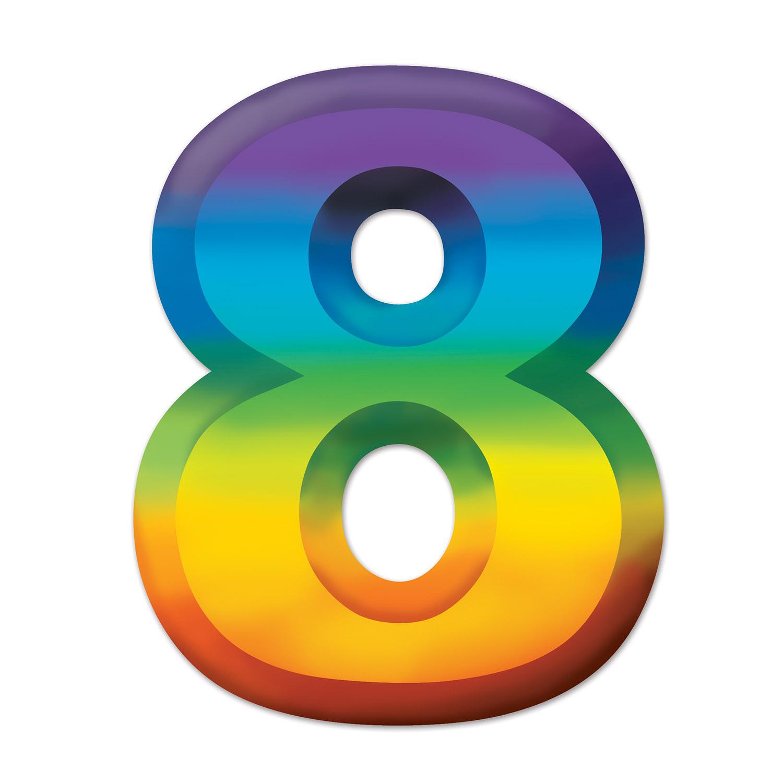 24 Units Of Multi Color Plastic 3 D Number 8