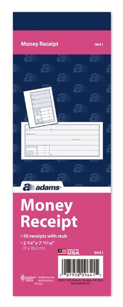 60 Units Of Adams Money Receipt Book 1 Part With Tear Off Stub 2 3 4 X 7 15 16 50 Bk Receipt Book