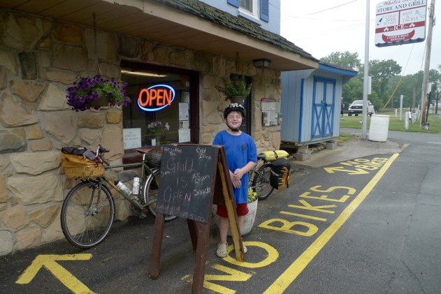 "We didn't notice the ""no bike parking"" until we were leaving the White's Ferry Grill!"