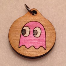 Pacman Pink Ghost Wood Necklace