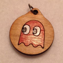 Red Pac-Man Ghost Pendant