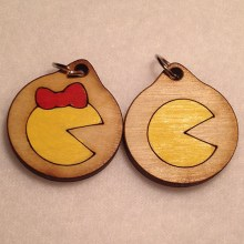 Pacman and Ms. Pacman Wood Necklace