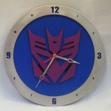 Decepticon Transformers blue background, 14 inch Build-A-Clock