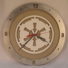 "14"" Wood Galactic Empire Star Wars Beige Background Build-A-Clock"