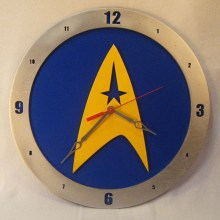 "14"" Wood Star Trek Symbol Blue Background Build-A-Clock"