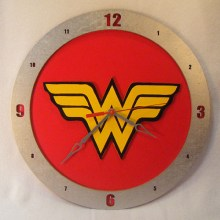 "14"" Wood Wonder Woman Red Background Build-A-Clock"