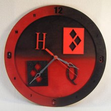 "Premade 14"" Wood Harley Quinn Wall Clock"