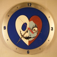 Jack and Sally Heart Blue Background Clock