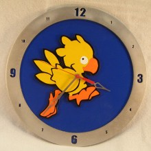 "14"" Wood Chocobo Final Fantasy Blue Background Build-A-Clock"