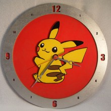 Pikachu Pokemon red background, 14 inch Build-A-Clock