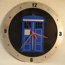 TARDIS Black Background Clock