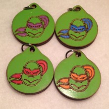 TMNT Group Wood Necklaces and Pendants