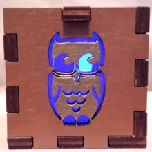 Gold Owl blue lit
