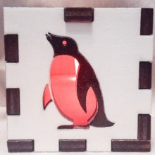white penguin lit red