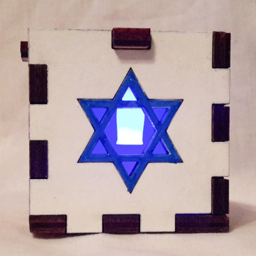 Star of David white lit blue