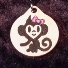 Monkey Girl Wooden Necklace and Pendant