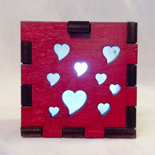 Hearts LED Gift Box white