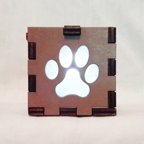 Paw Print Brown lit White