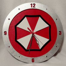 "14"" Wood Umbrella Corp. Red Background Build-A-Clock"