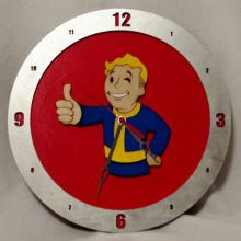 Vault Boy red background, 14 inch Build-A-Clock