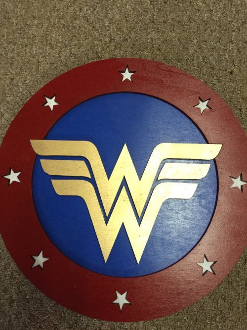 "14"" Kids Costume Size Wonder Woman Shield  w/ optional backpack straps"