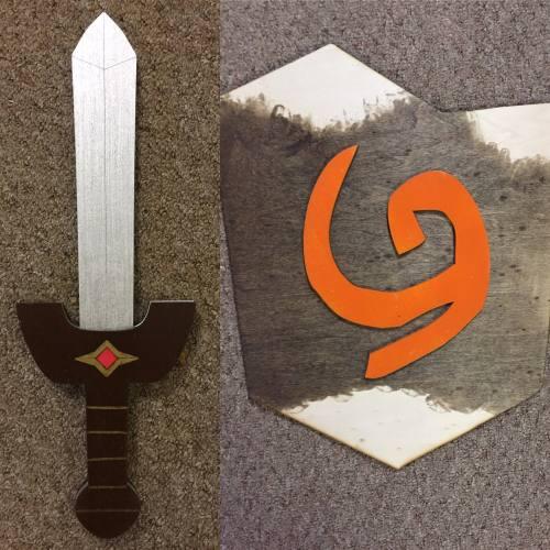 Kids Costume Size Set of Kokiri Sword and Deku Shield  w/ optional  backpack straps