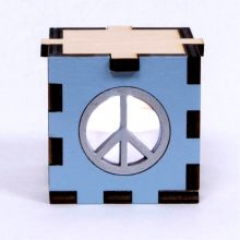 Peace Sign Wood Lit White LED Tea Light
