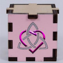 Triquetra Heart Symbol Wood Lit Magenta LED Tea Light