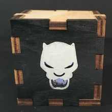 Black Panther Symbol Wood Lit White LED Tea Light