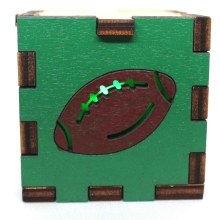 Football Sports Wood Lit Green LED Tea Light