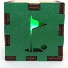 Golf Sports Wood Lit Green LED Tea Light