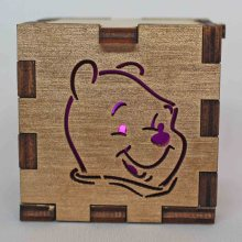 Pooh Bear Lit Magenta Tea Light