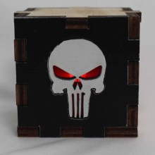 Punisher Symbol Wood Lit Red LED Tea Light