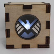 S.H.I.E.L.D Symbol Wood Lit White LED Tea Light