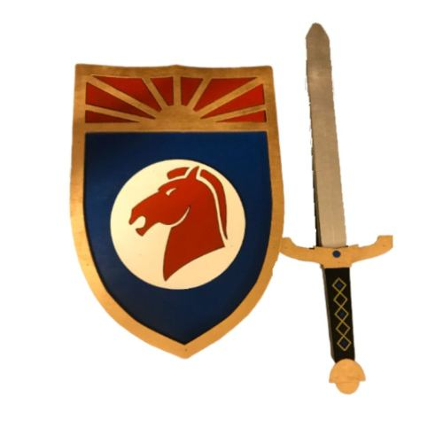 """Kids Size: Prince Valiant 19"""" Sword and 14"""" Shield Cosplay Replica Costume Prop"""