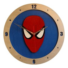 Spiderman Clock on Blue background