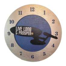 Starship Enterprise with words Live Long and Prosper on Blue Background Clock