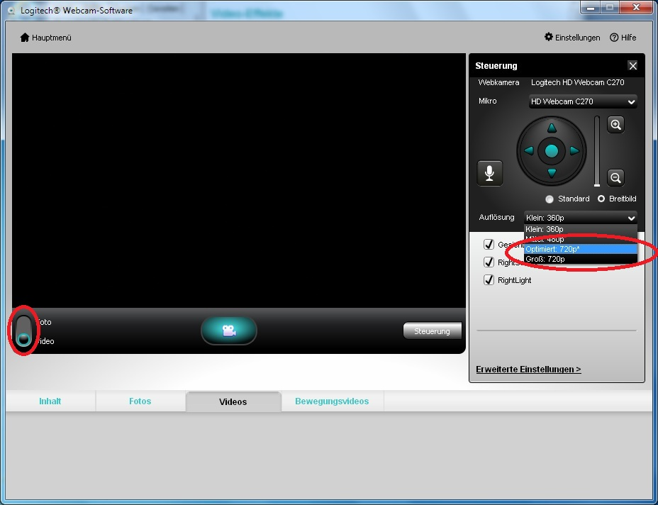 Logitech C270 720p Optimierung