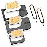 Nano Sim und Micro Sim Adapter KOMPLETT-SET (5er-SET) mit 2x Simnadel Eject Pin, Adapter sind zur Verwendung von NanoSIM und MicroSIM Karten als Micro Sim oder normale Sim Karte für alle Handys im Charmate® Druckverschlussbeutel