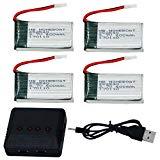 HB HOMEBOAT® Syma X5 X5C X5C-1 X5SC X5SW Teile 3,7V 600mAh 20C Lipo Akku (4 Stück) mit 4 in 1 X4 Ladegerät