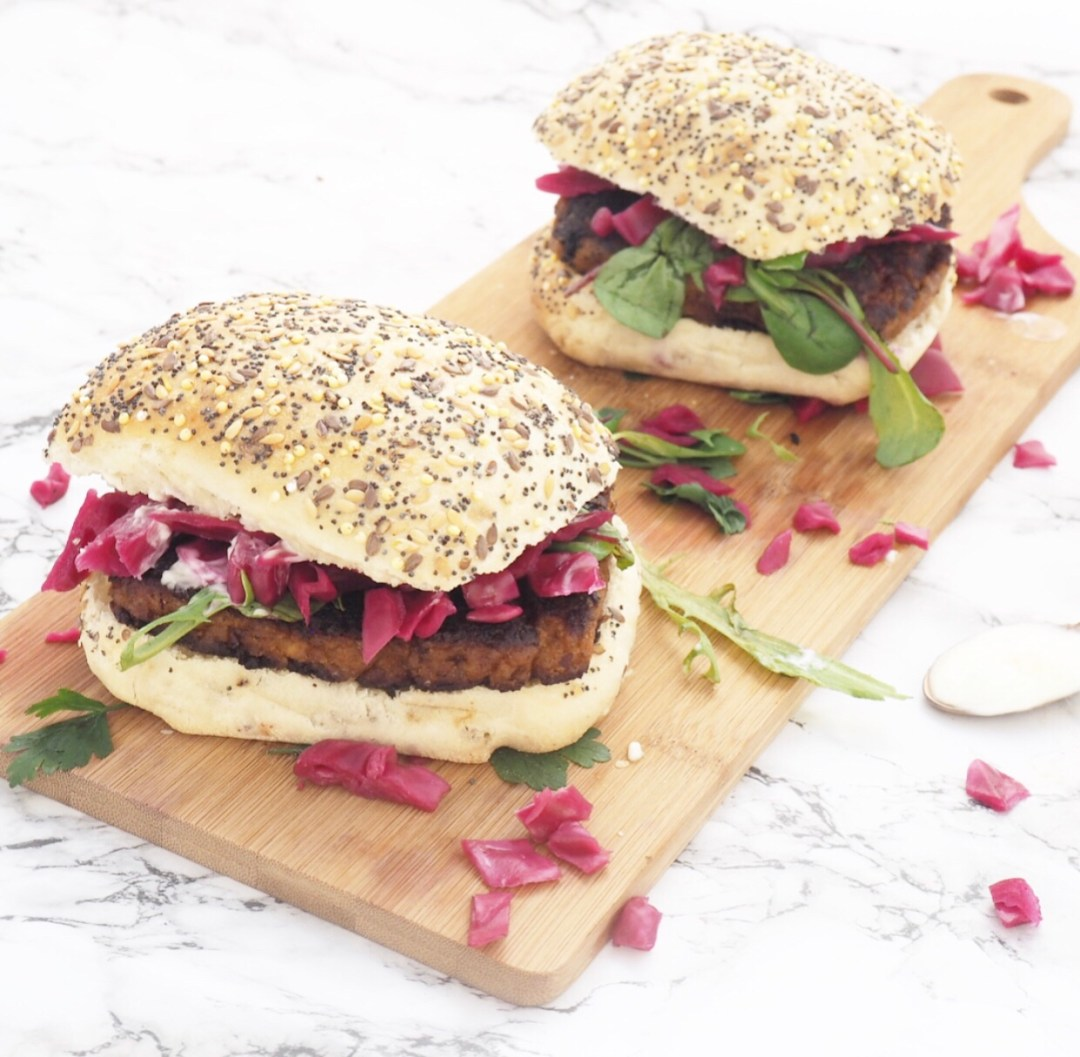 Cajun Bean Burger with Pickled Red Cabbage Recipe