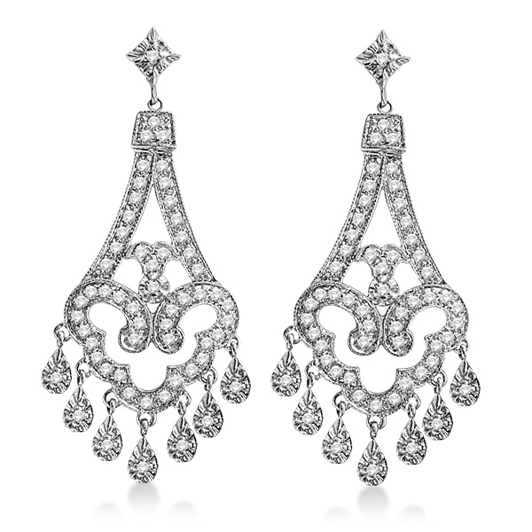 Dangling Chandelier Diamond Earrings 14k White Gold 1 08ct