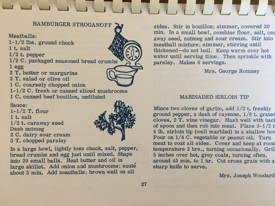 Delivious Original Recipe for Beef Stroganoff Meatballs by Mrs. George Romney in vintage cookbook of retro recipes and artwork from the 1960s