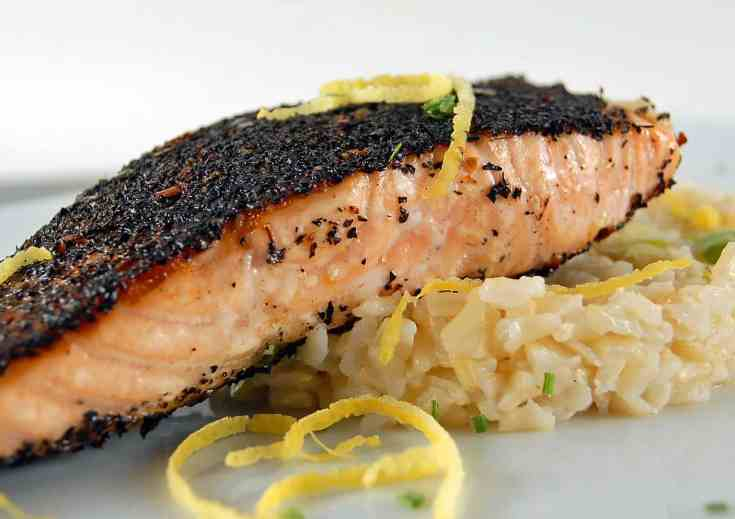 Smoky Tea-Chile-Rubbed Salmon with Lemon-Scallion Rice