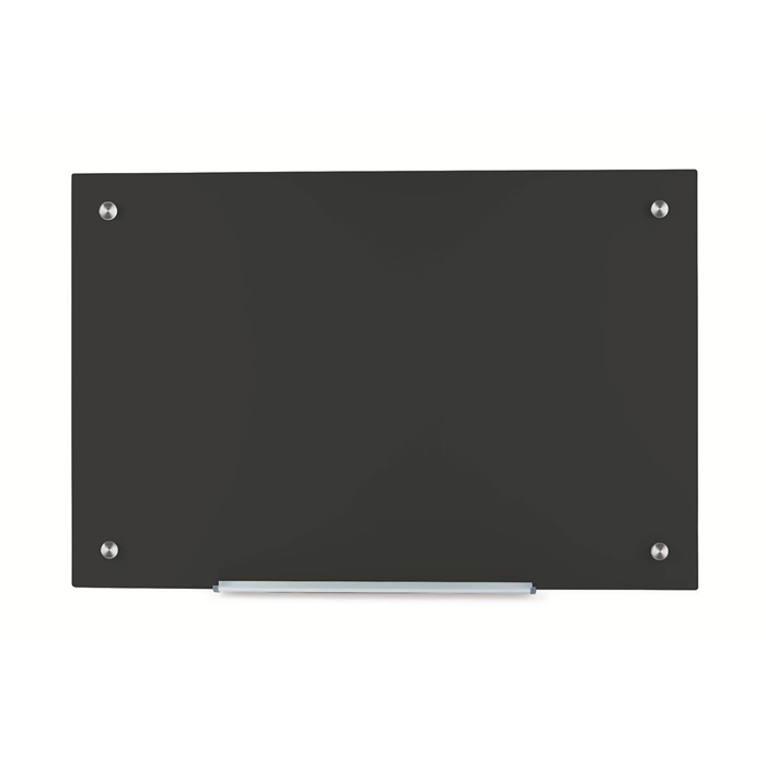 Office Glass Board Magnetic with Wall Fixings W1000xH650mm Black