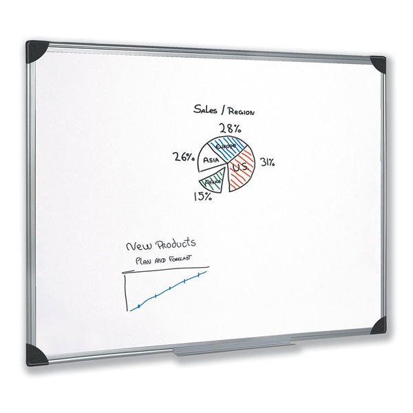 Whiteboard Drywipe Magnetic with Pen Tray and Aluminium Trim W1200xH900mm