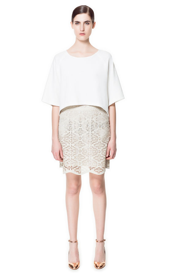 Zara faux leather cutwork skirt £39.99 http://www.zara.com/webapp/wcs/stores/servlet/product/uk/en/zara-neu-S2013/358006/1048498/FAUX+LEATHER+CUT+WORK+SKIRT