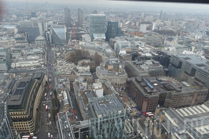 View from the lift  at Duck and Waffle