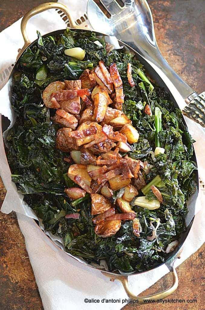 rainbow kale roasted potatoes bacon & maple syrup