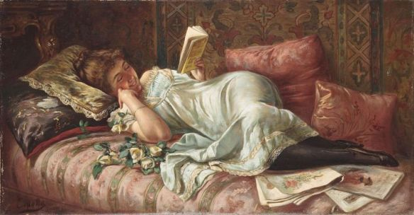 Woman reading illustration